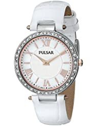 Pulsar Womens PM2127 Swarovski Crystal-Accented Watch with White Leather Band