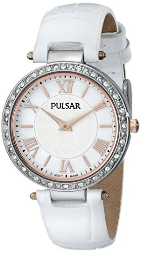 Pulsar Women's PM2127 Swarovski Crystal-Accented Watch with White Leather Band