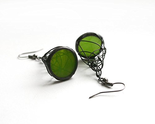 Green Pyramid Earrings, Handmade from Stained Glass, Green Wire Wrapped Jewelry, Artkvarta jewelry