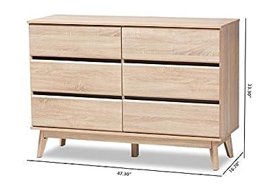 Baxton Studio 148-8256-AMZ Heureux Dresser, Oak Brown/Dark Grey