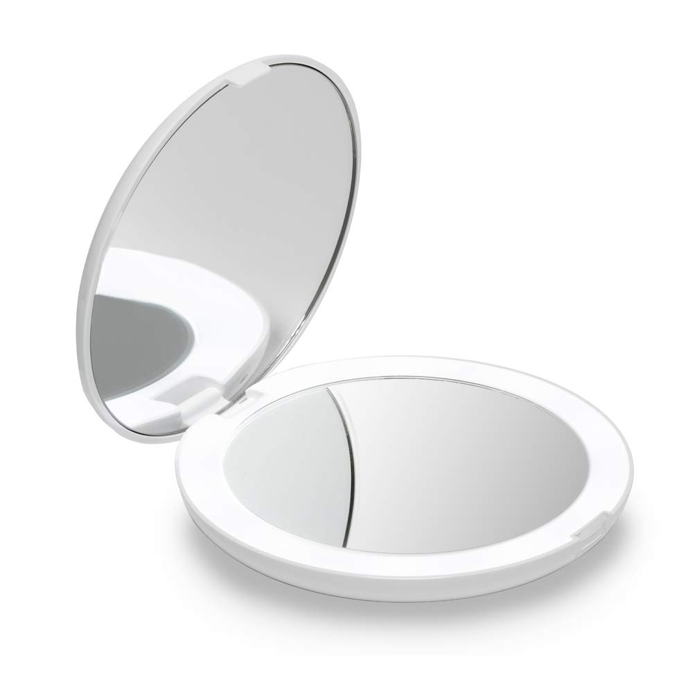 "Fancii LED Lighted Travel Makeup Mirror, 1x/10x Magnification - Daylight LED, Compact, Portable, Large 5"" Wide Illuminated Folding Mirror, Silk White (Lumi)"
