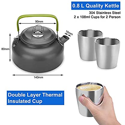 Odoland Camping Cooker Pan Set Aluminum Camping Cookware Kit for 2 People, Portable Outdoor Pot Pan Stove Kettle 2 Cups… 3