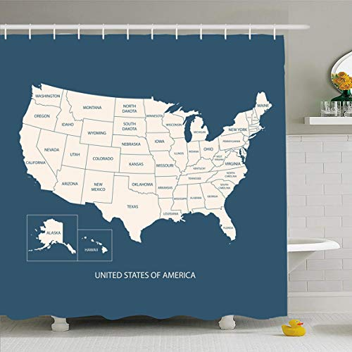 Ahawoso Shower Curtain 66x72 Inches Washington Blue American USA Map Name Countriesunited States America United Flat Simple West Texas Waterproof Polyester Fabric Set with Hooks]()