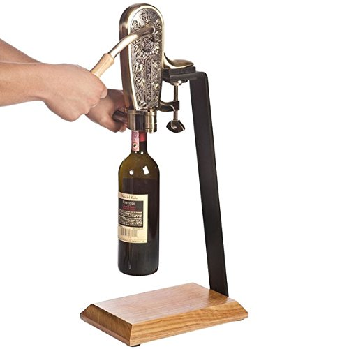 (Franmara 4085SET Le Grape Brass-Plated Counter Mount Wine Bottle Opener with Table Stand)