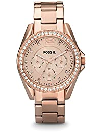 Women's Riley Quartz Stainless Steel Dress Watch, Color: Rose Gold-Tone (Model: ES2811)
