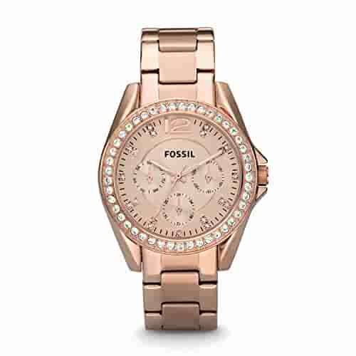 Fossil Women's Riley Quartz Stainless Steel Dress Watch, Color: Rose Gold-Tone (Model: ES2811)
