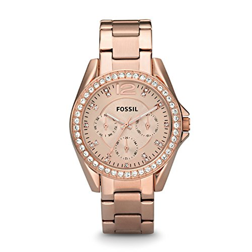 (Fossil Women's Riley Quartz Stainless Steel Chronograph Watch, Color: Rose Gold (Model: ES2811))