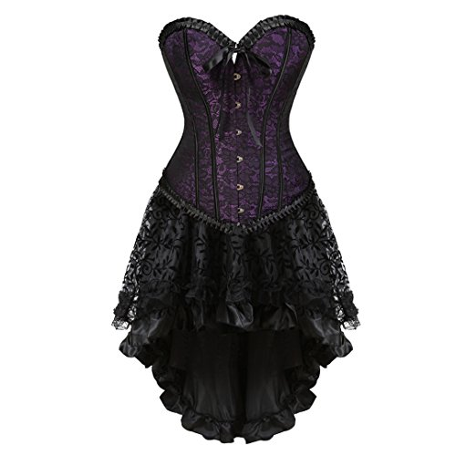 Women's Steampunk Gothic Corset Skirt Set Burlesque Moulin Rouge Vintage Victorian Halloween Costume Small Purple -
