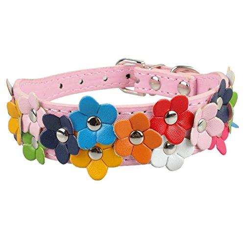 - Tinapet Faux Leather Adjustable Buckle Puppy Pet Dog Neck Collar Belt Strap Pink Size S (11-13
