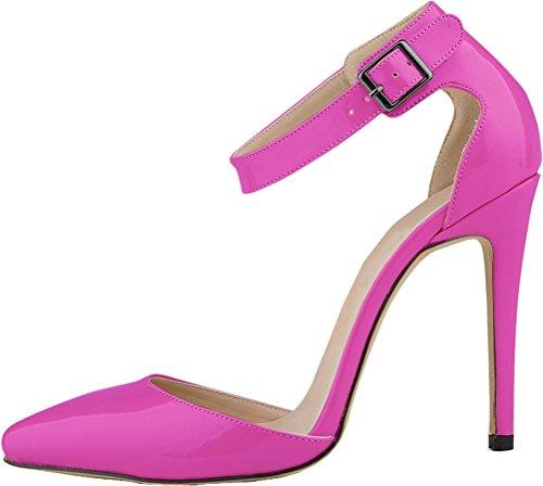 Moda PU Pumps OL Pionted All trabajo Vestido toe Stiletto Womens Sexy Purple Salabobo de Match FSAIfxqRn