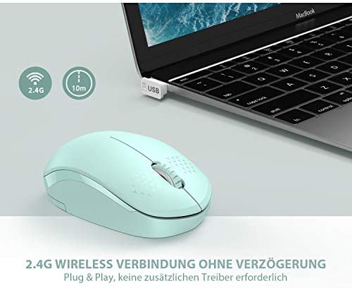 [Upgrade] Wireless Mouse, 2.4G Noiseless Mouse with USB Receiver – seenda Portable Computer Mice for PC, Tablet, Laptop with Windows System – Mint Green 41StGWlGqKL