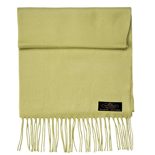 100% Cashmere Scarf Super Soft For Men And Women Warm Cozy Scarves Multiple Colors FHC Enterprize (Lime Green)