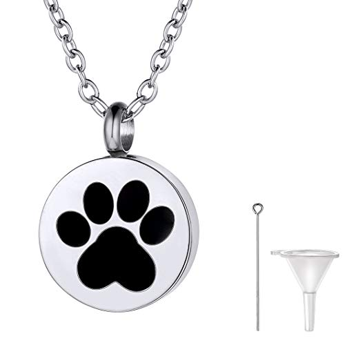 Child 3/4' Pendant - Richsteel Urn Necklaces for Ashes Dog Stainless Steel Round Doggie Footprint Urn with Rolo Chain Men Women Cremation Jewelry for Pets