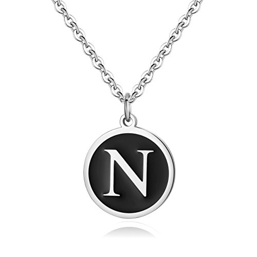 REVEMCN Stainless Steel Alphabet and Bible Verse Proverbs 4:23 Pendant Necklace for Men Women with Keyring and 22'' Chain (Silver-Tone: N) -