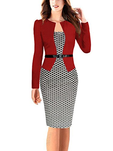 Women's Elegant Vintage Office Pencil Party Midi Dress (Red+Houndstoothl,M) from Babyonlinedress