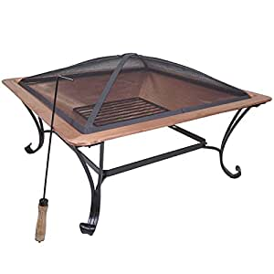 "33"" Square Copper Fire Pit Wood Burning Patio Deck Grill with Log Grate + FREE E - Book"
