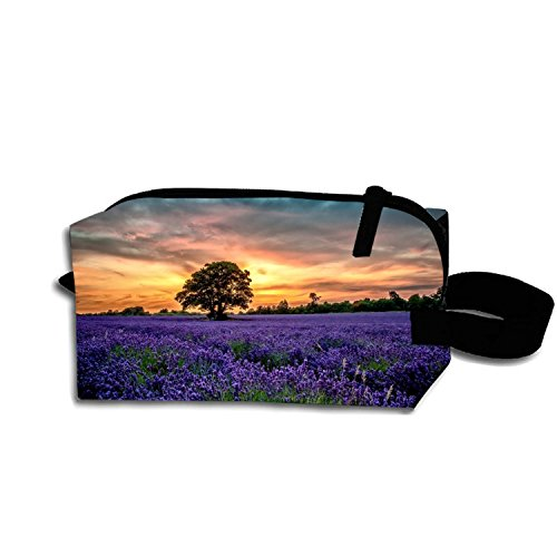 Multi-functional Small Hand-Held Pencil Bag Coin Purse Storage Travel Cosmetic Bag (Love Of Lavender)