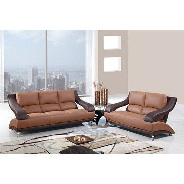 Global Furniture USA 982 2 Piece Leather Living Room Set in Brown & Dark Brown price