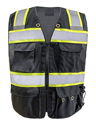 Safety Vest Reflective stripes Safety Black knitted Vest with Bright Construction Workwear with for men with 5 pockets. -