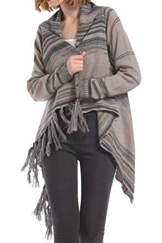 Pullover Cime Casual Tops Patchwork Cardigan Moda Autunno Lunga Cappotto Donne fashion Giacche Grigio Sweater Simple Con Maglione Coat Frange Outwear Manica Primavera Elegante Maglieria 1PwIUv