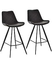 HOMCOM Set of 2 Microfiber Cloth Barstools Multi-functional Bar Chair Steel Leg Padded Cushion Seat for Kitchen Dining, Black