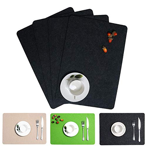 HiiARug Felt Placemats, Set of 4 Heat Resistant Absorbent Placemat for Dining Table Kitchen Table Washable Thick Table Mat (Dark Grey, - Mats Felt