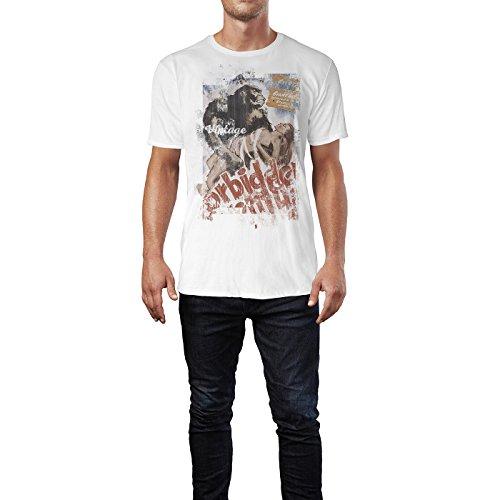 SINUS ART® King Kong Forbidden Herren T-Shirts stilvolles weißes Fun Shirt mit tollen Aufdruck