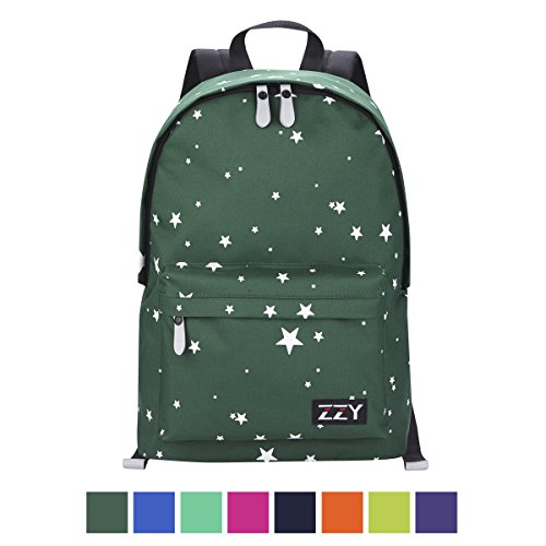 Green Striped Backpack (ZZY Unisex Classic Backpack Anti-theft Daypack Resistand Rucksack Lightweight Laptop Reflective High School Bags for Teens Girls(Sky Dark Green))