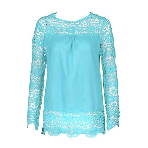iQKA Women Plus Size Hollow Out Lace Splice Long Sleeve Shirt Casual Blouse Loose Top(Light Blue,Medium) by iQKA (Image #1)