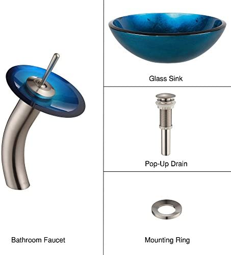 Kraus C-GV-204-12mm-10SN Irruption Blue Glass Vessel Sink and Waterfall Faucet Satin Nickel