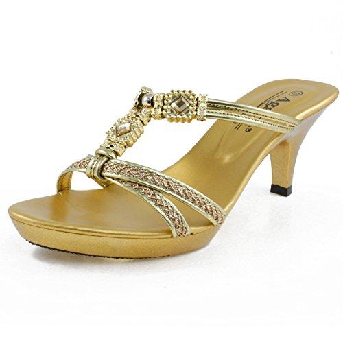 Agape KATHLEEN-30 Jeweled Platform Heel Gold 10 ()