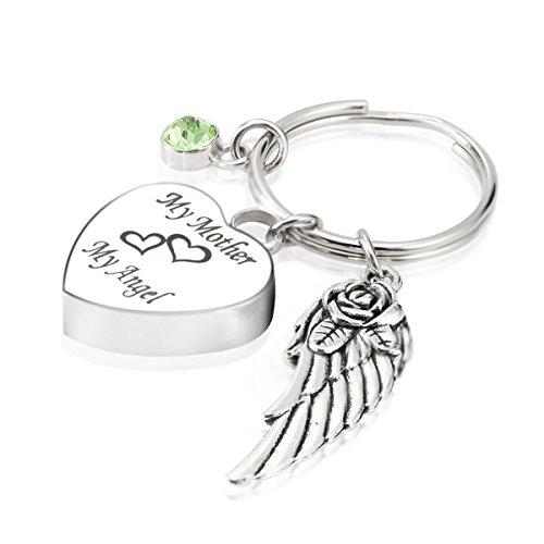Engraved Personalised My Mother My Angel Cremation Urn Jewelry Keychain Memorial Ash Keepsake August Olivine Birthstone Angel Wings Pendant