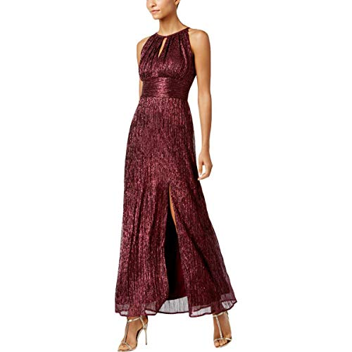 R&M Richards Women's Metallic Knit Halter Gown (16, Merlot)