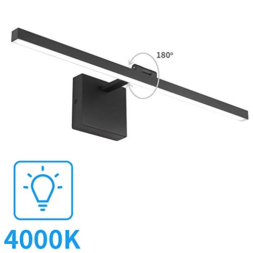 Aipsun 27.6 Inch Rotate 180°Modern Black LED Bathroom Vanity Light Over Mirror -