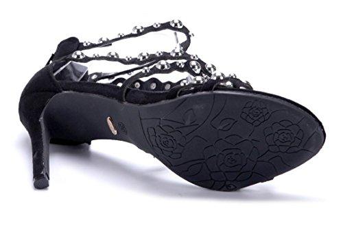 Schuhtempel24 Damen Schuhe Sandaletten Sandalen Blau Stiletto Nieten 10 cm High Heels