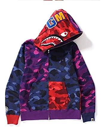 c3c2dc76fbb5 Men s BAPE Tiger Shark Camouflage Stitching Full -Zip Pullover Hooded  Sweatshirt for Men Women  Amazon.co.uk  Clothing