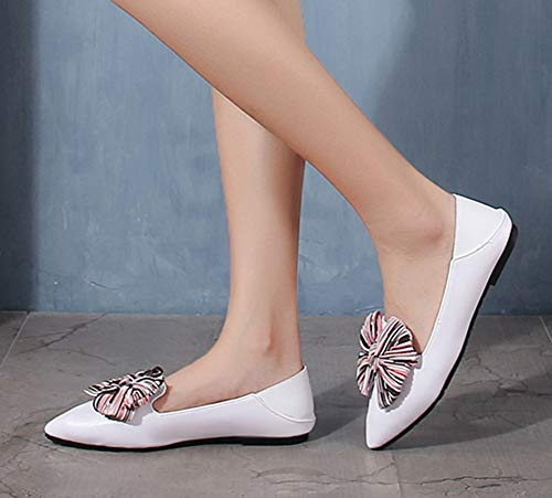 Blanc Confortable Noeud Pointue Ballerines Aisun Femme Coupe Rayures Basse 8TwnFH
