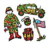 Bulk Roll Prismatic Stickers, Mini Military Soldier (100 Repeats)