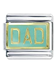 Italian Gold Charms Laser Etched Dad Italian Charms Link For Bracelet