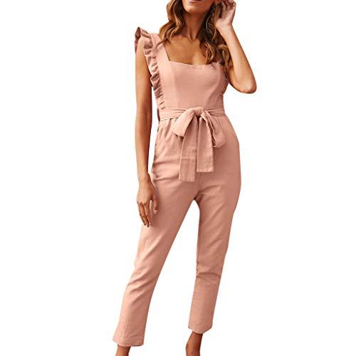 - Alangbudu Women Casual Sleeveless Tank Top Ruffle Pencil Pants High Waist Long Jumpsuit Office Work with Belt & Pockets Pink