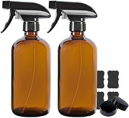 250/ml botellas de cristal /ámbar con negro tapas/ /Pack de 2
