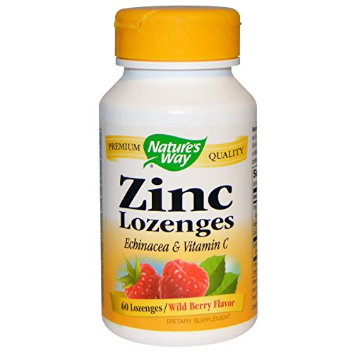 Natures Way Zinc Lozenges With Echinacea and Vitamin C - 60 lozenges, 3 Pack (Lozenges Zinc Vitamins)