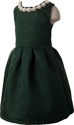 Ipuang Little Girls' Lovely Pattern Dresses for Special Occasions 6 Dark Green