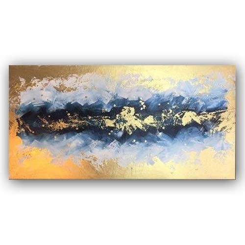 Faicai Art Metallic Wall Art Canvas Paintings Hand Painted Abstract Art Oil Painting Gold Modern Living Room Wall Decor Artwork Pictures for Bedroom Office Hallway Wooden Framed ()
