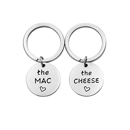 SEIRAA The Mac The Cheese Keychain Food Jewelry Couple Gift Macaroni and Cheese Jewelry (Mac Cheese Keychain)