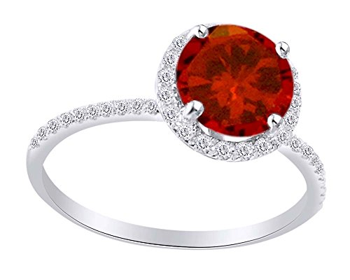 Round Cut Simulated Ruby with Diamonds Halo Engagement Ring in 10K White White Sold Gold (1.5 Cttw)