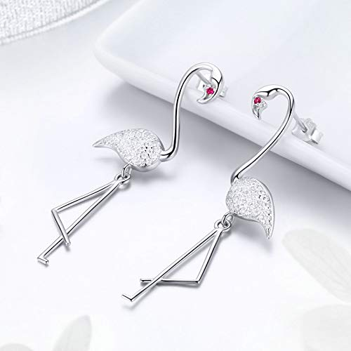 The Kiss Flamingo Pave CZ Dangle 925 Sterling Silver Earrings