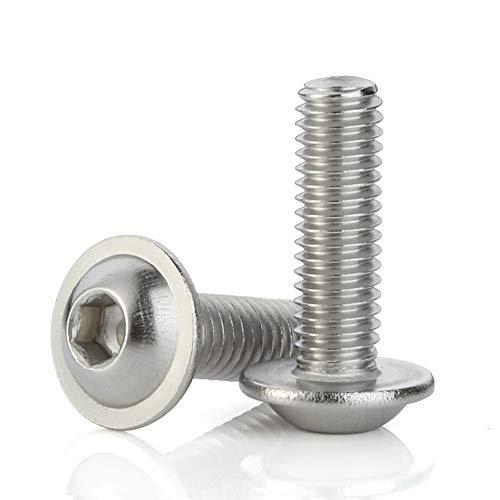 M5-0.8 x 16mm Flanged Button Head Socket Cap Screws, Stainless Steel A2-70, Full Thread, Allen Socket Drive, Quantity 50