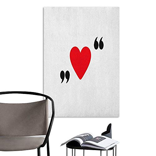 - Williasm Retro Poster Decorative Painting Love Cute Red Heart in Quotation Marks Romantic Love Icon Simple Classic Valentines Red Black White Bedroom Bedside Wall W24 x H36
