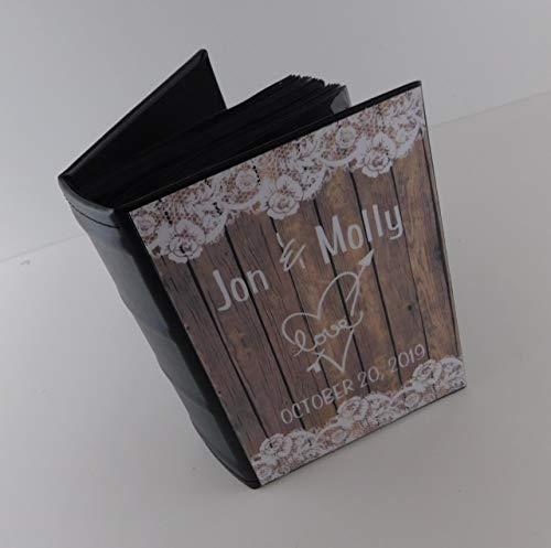 Wedding Photo Album IA#375 PRINTED NOT REAL Wood and Lace Holds 4x6 Picture Laminated Vinyl Cover Personalized Engagement Anniversary Home Decor- READ Listing Item #375